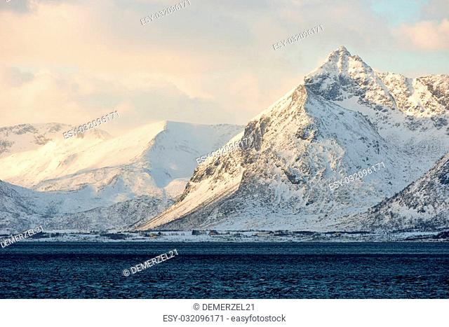 Gimsoystraumen strait between the islands of Austvagoya and Gimsoya in the municipality of Vagan in Nordland county, Norway