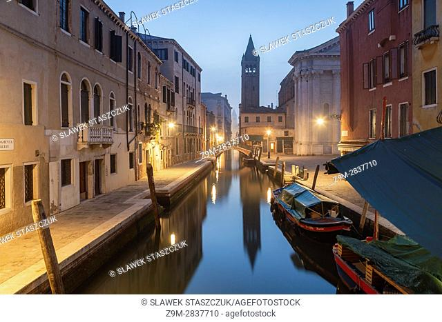 Misty dawn in the sestier of Dorsoduro, Venice, Italy