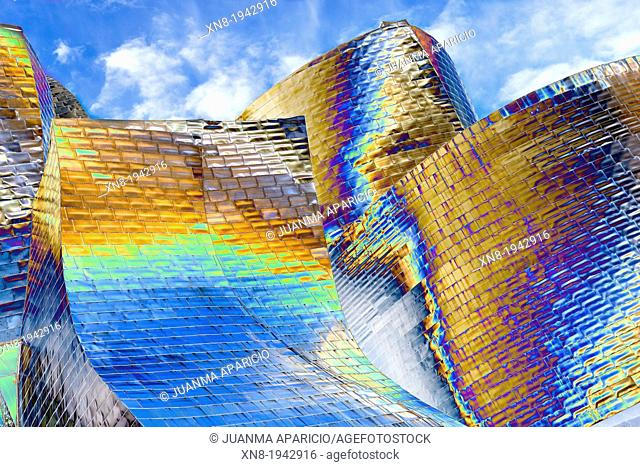 Detail of Guggenheim museum, Bilbao, Biscay, Basque Country, Spain