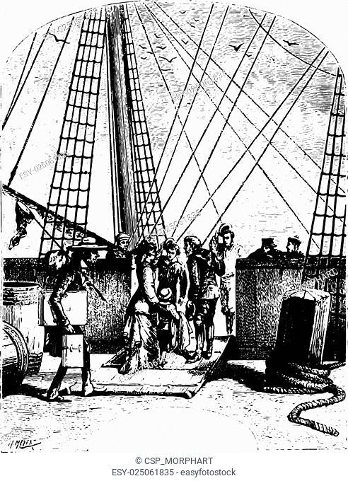 The schooner, Pilgrim, vintage engraving
