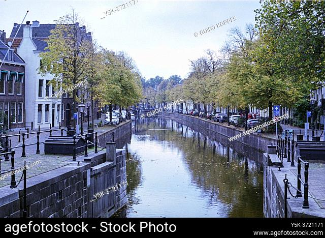 Schiedam, Netherlands. Historical Harbour Down Town with Old Boats & Ships