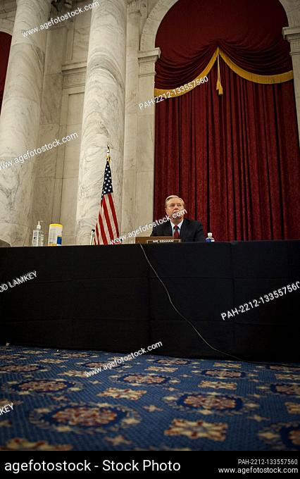 United States Senator Lindsey Graham (Republican of South Carolina), Chairman, US Senate Judiciary Committee, listens to remarks during the committee markup of...