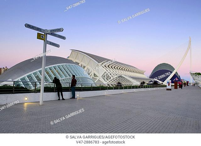 Tourists in the City of Arts and Sciences, Valencia, Spain