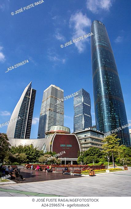 China, Guangdong Province, Guangzhou City, Wuyan New Town, Children's Palace and IFC Tower