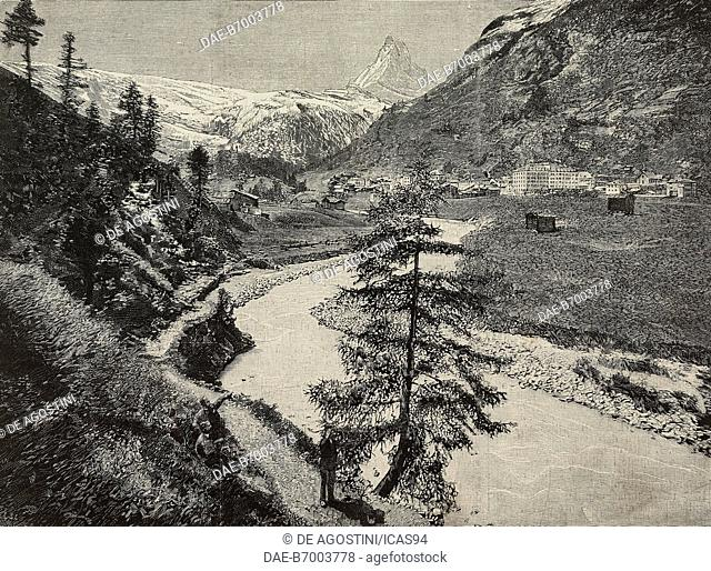 View of the Matterhorn (Cervino) from Zermatt, Switzerland, engraving after a photo, from L'Illustrazione Italiana, Year XX, No 34, August 20, 1893