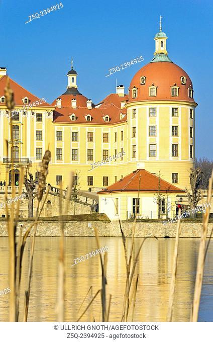 Schloss Moritzburg Castle near Dresden, Saxony, Germany, exterior view in winter