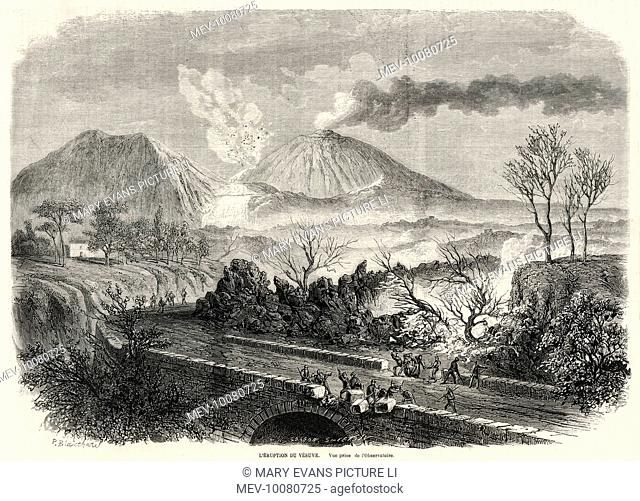 The eruption of Vesuvius, seen from the Observatory : stones from a bridge are being dislodged in hope of halting or diverting the lava flow threatening...