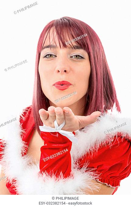 a portrait of beautiful girl wearing santa claus clothes