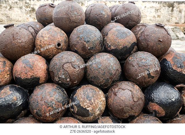 Cannon balls, Main Firing Battery, Castillo San Cristóbal (St. Christopher Castle, Saint Christopher Fort), UNESCO World Heritage Site, San Juan, Puerto Rico