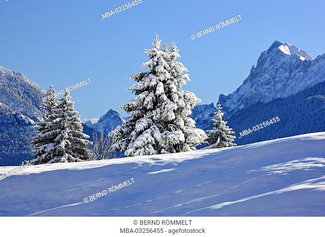 Germany, Bavaria, Upper Bavaria, Werdenfelser Land (region), Gschwandtnerbauer, winter scenery, Karwendel mountain range, eastern Karwendelspitze