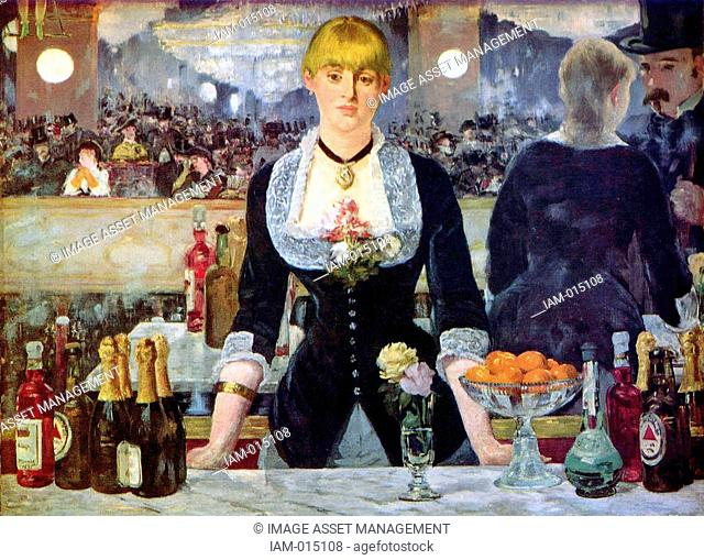 Bar at the Folies Bergere', 1882, the artist's last major work. Oil on canvas. Edouard Manet 1832-1883 French artist, transition from Realism to Impressionism
