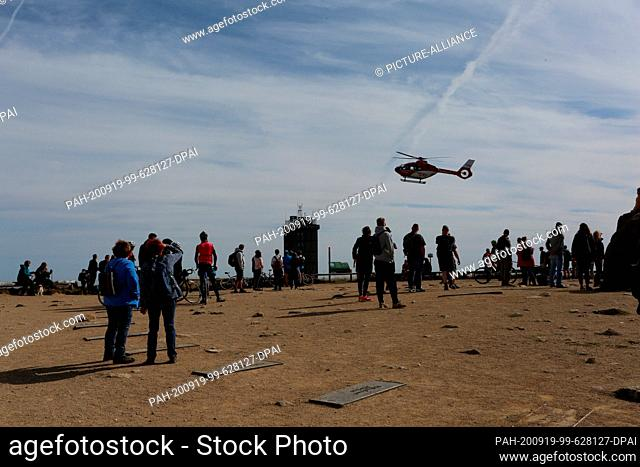 19 September 2020, Saxony-Anhalt, Schierke: A rescue helicopter lands on the Brocken. Rescue operations on the Brocken often require the use of a helicopter...
