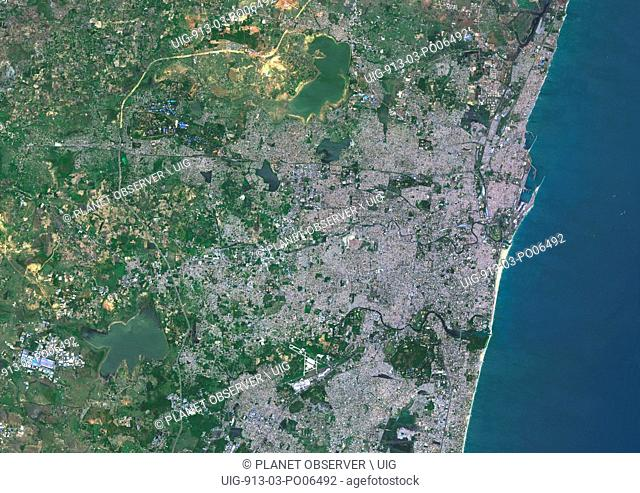 Colour satellite image of Chennai, India (called formerly Madras). Image taken on September 9, 2014 with Landsat 8 data