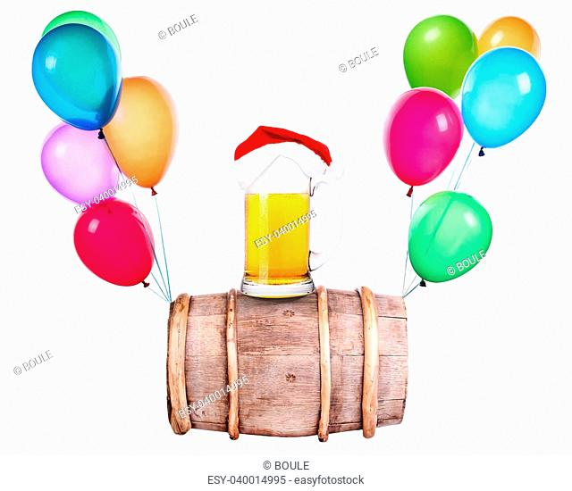 Beer with hat of Santa and flying balloons isolated on white