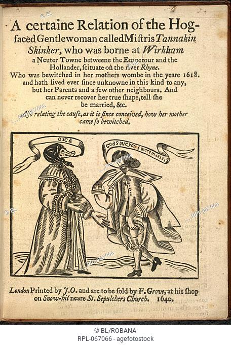 Engraved title page depicting the hog faced woman, born in 1618. Image taken from A certaine Relation of the Hog-faced Gentlewoman called Mistris Tannakin...
