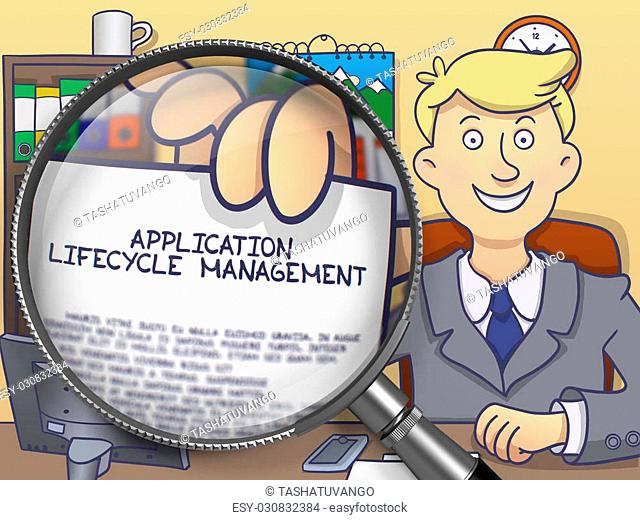 Application Lifecycle Management on Paper in Businessman's Hand through Lens to Illustrate a Business Concept. Colored Modern Line Illustration in Doodle Style