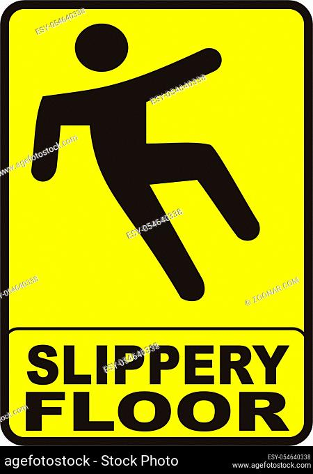 sign with yellow background indicating a slippery wet floor