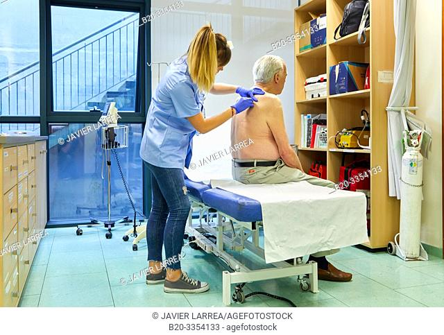 Nurse , Treatment room, Primary care, Egia Health Center, Donostia, San Sebastian, Gipuzkoa, Basque Country, Spain