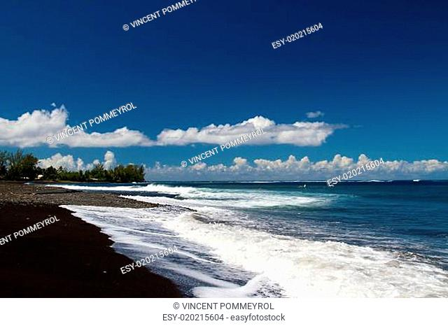 Black sand and Ocean
