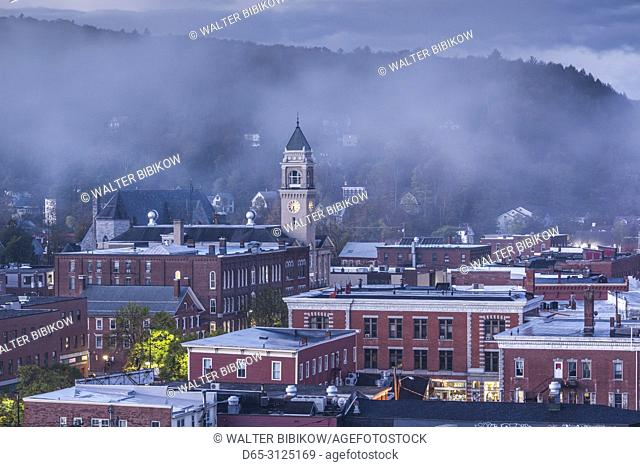 USA, New England, Vermont, Montpelier, elevated town view, dawn with morning fog, autumn