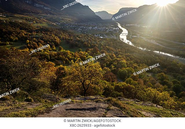View into the Etsch Valley towards Salurn - Salorno in the South Tyrolean Unterland - Bassa Atesina. europe, central europe, italy, november