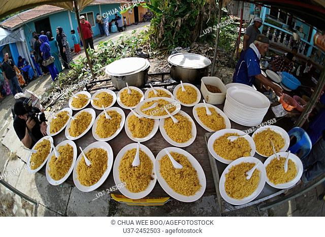 Nasi briyani served during the Malay wedding party, Kuching, Sarawak, Malaysia