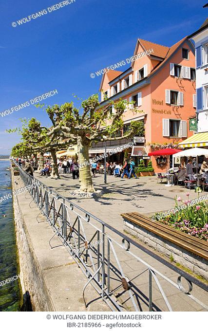 Lakeside promenade, Unterstadt district, Meersburg, Lake Constance, Baden-Wuerttemberg, southern Germany, Germany, Europe