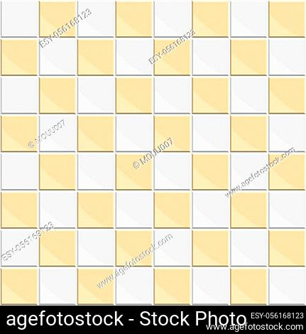 Abstract seamless pattern of orange white ceramic floor tiles. Design geometric mosaic texture for the decoration of the kitchen room, vector illustration