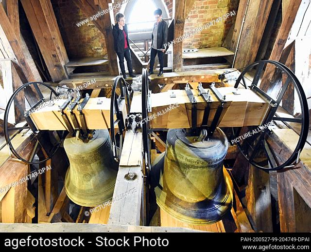 26 May 2020, Saxony, Leipzig: In the restored lower belfry of St. Thomas' Church in Leipzig, after completion of the first phase of the restoration