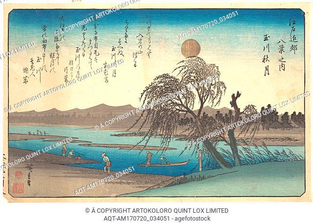 Tamagawa Shugetsu, 江戸近郊八景之内 玉川秋月, Autumn Moon on the Tama River, Edo period (1615–1868), ca. 1838, Japan