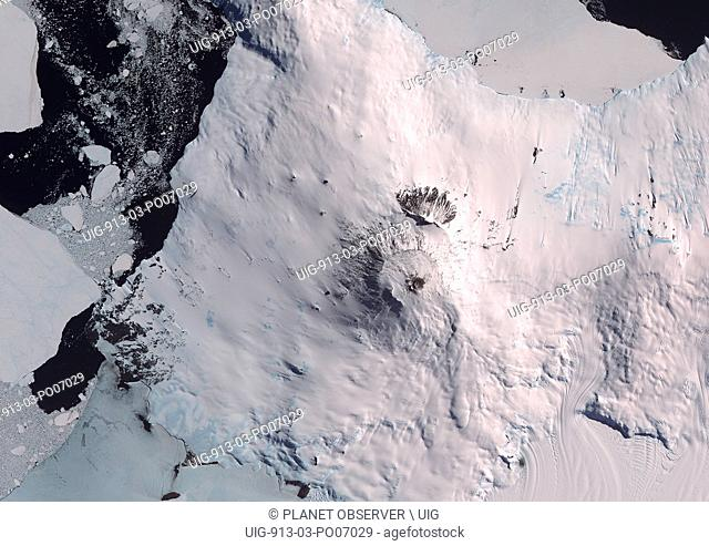 Satellite view of Mount Erebus, the tallest volcano in Antarctica. Situated on Ross Island, just off the coast of West Antarctica
