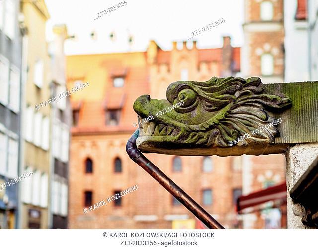 Poland, Pomeranian Voivodeship, Gdansk, Old Town, Gargoyle on Mariacka Street