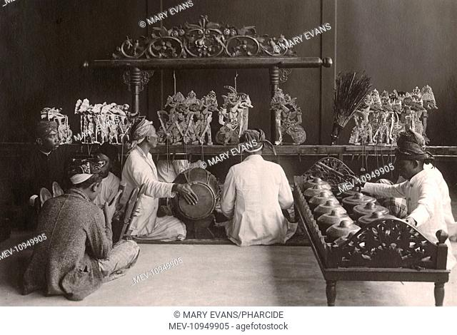Wayang puppet theatre and gamelan musicians of Bali, Indonesia