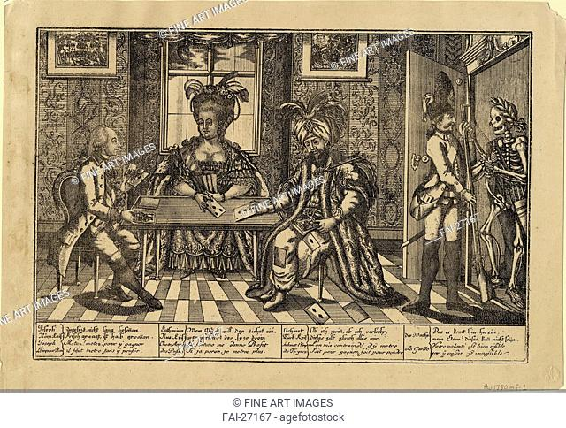 Joseph II, Catherine the Great and Sultan Abdul Hamid I playing cards by Anonymous /Etching/Caricature/c. 1780/Great Britain/Private Collection/26,2x37
