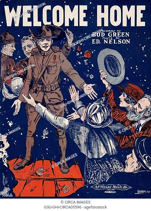 Sheet Music Welcome Home, Words by Bud Green, Music by Ed. Nelson, Art by Barbelle, A.J. Stasny Music Co., New York, 1917