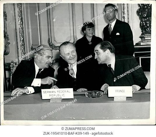 Oct. 10, 1954 - Agreement reached at Nine Power Conference; Photo Shows Mr. ----- (Britain), Dr. Adenauer, West German Chancellor and Mr