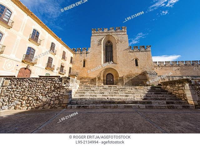 Main street of the inner area of the Monastery of Santes Creus, Spain, leading to the monument itself