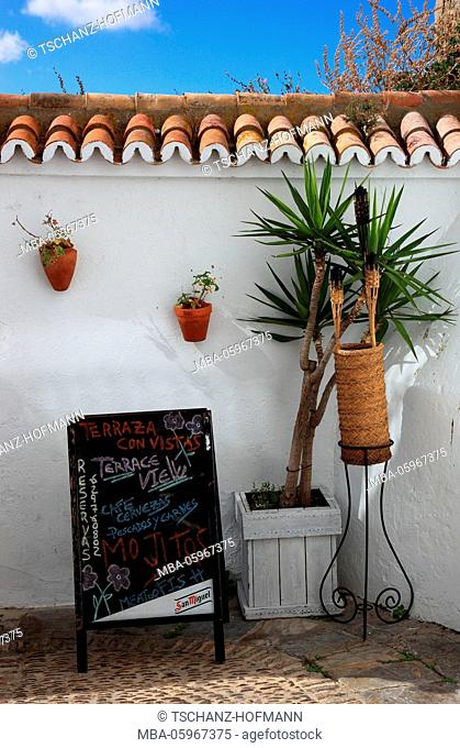 Spain, Andalusia, Vejer de la Frontera, white town in the province of Cadiz, white wall with small palm and promotional sign of a bar in the city centre