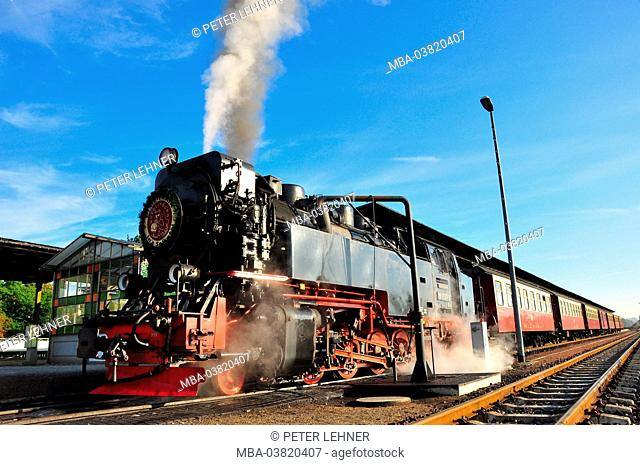 Germany, Saxony-Anhalt, Harz foothills, Quedlinburg, steam train, nostalgically, Harz Narrow Gauge Railways