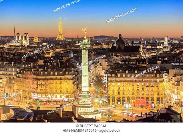 France, Paris, general view of Paris with the July Column (Colonne de Juillet) at Place de la Bastille, the Notre Dame cathedral on the Ile de la Cite