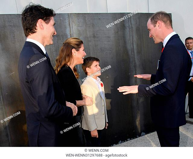 The Prince of Wales, The Duke of Cambridge and Prince Harry attend the Centenary of the Battle of Vimy Ridge Featuring: Prince William, Justin Trudeau
