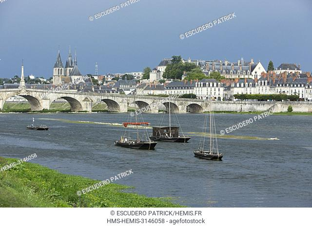 France, Loir et Cher, Loire valley listed as World Heritage by UNESCO, Blois, the town and Jacques Gabriel bridge