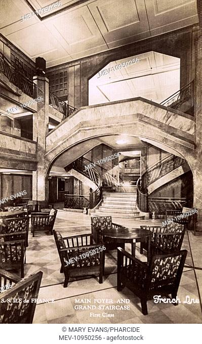 First Class Main Foyer and Grand Staircase on the SS Ile de France cruise liner, French Line
