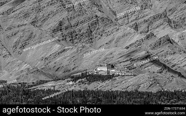 Matho Gompa - a monastery of Central Ladakh. View from the Thikse Monastery located on the opposite side of the Indus Valley