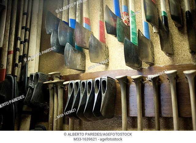 Ernesto Ezpeleta 'Bihurri', wood cutter or aizkolari in Basque language  Axes in his home in Mendaro  Basque rural sports Herri Kirolak in basque language are...