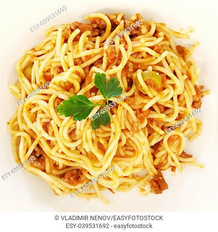 High Angle View Of Spaghetti Served In Plate