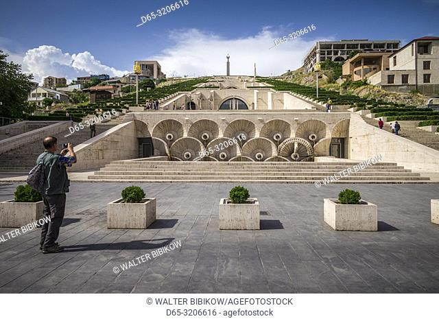 Armenia, Yerevan, The Cascade, view of the fountains, with visitor, NR