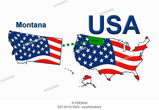 USA state of Montana in stars and stripes design