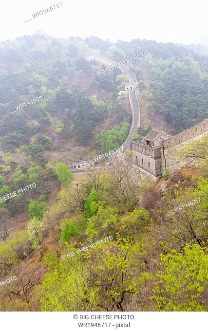 Great Wall of China snaking across a mountain landscape at Mutianyu, Huairou, China