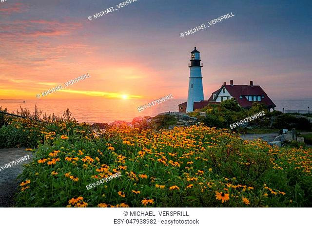 Beautiful sunrise from Portland Head Lighthouse in Maine
